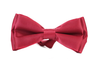 Close up of red bow tie.