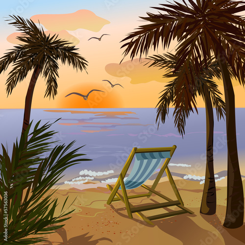 chaise lounge, palms and sunset on the sea