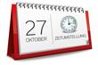 Kalender rot 27 Oktober Zeitumstellung Uhr