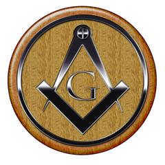 Freemason metallic symbol on wooden plaque