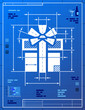 Gift symbol like blueprint drawing. Vector concept