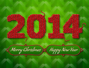 New Year 2014 of knitted fabric on green background