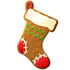 Gingerbread christmas stocking decorated colored icing