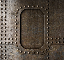 Metal background with rivets. Steam punk style.