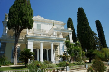 Front of the palace Achilleon, island of Corfu, Greece.