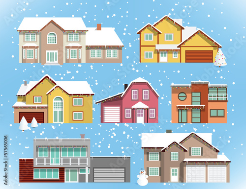 Snow covered city houses (Christmas)