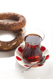 two simit and tea