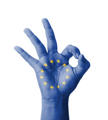 Hand making Ok sign, EU (European Union) flag painted