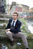 elegant attractive fashion hipster man lifestyle