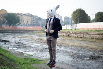 rabbit mask man in a desolate landscape