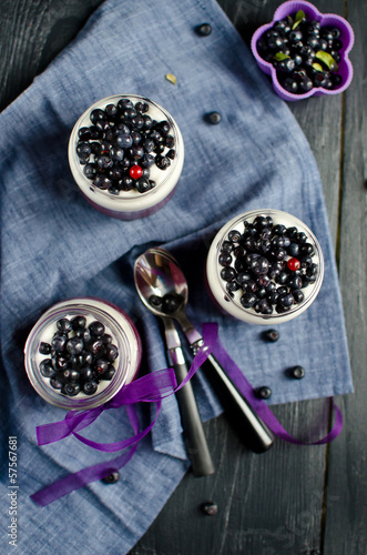 Blueberry Panna Cotta in jars