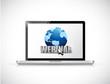 laptop and webinar sign illustration design