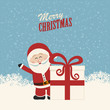santa claus wave behind christmas gift