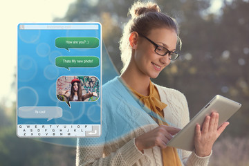 Concept of using wireless technology, video call, typing message