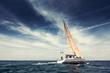 Leinwanddruck Bild - Sailing ship yachts with white sails