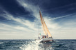 Sailing ship yachts with white sails - 57570402
