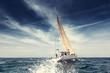 Leinwandbild Motiv Sailing ship yachts with white sails