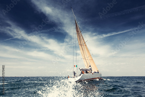 canvas print picture Sailing ship yachts with white sails