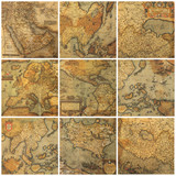 old maps collage