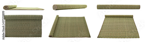 Rolled straw mat isolated