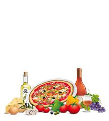 Pizza et ingrédients, fond blanc
