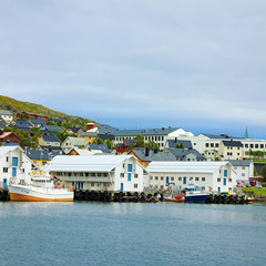 Panorama of Honningsvag port beyond Arctic Circle.
