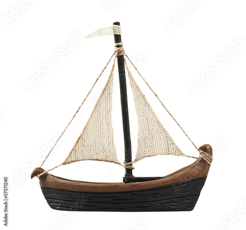 Sailboat statuette figure isolated