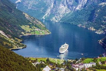 Cruise ship into Geiranger port, Norway.