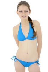 Teenager in blauem Bikini