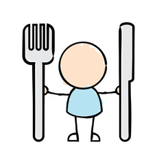 Man Holding Knife and Fork