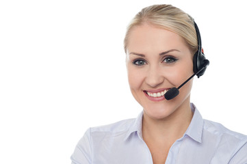 Portrait of female customer support executive