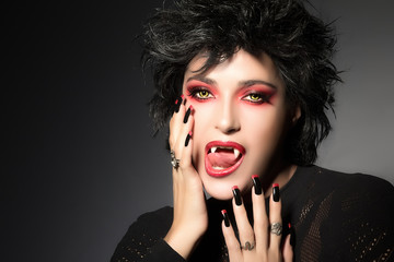 Fashionable Vampire Girl. Fantasy Makeup
