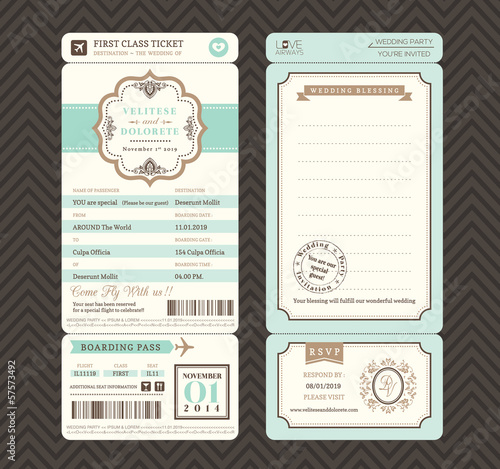 Vintage style Boarding Pass Ticket Wedding Invitation Template V