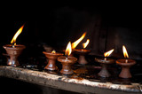 Burning oil lamps. Nepal