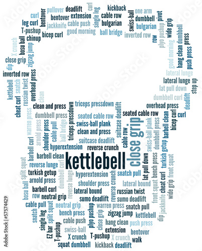 Word cloud related to recreation in shape of kettlebell