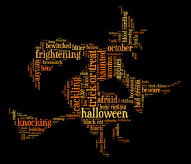 Halloween word cloud illustration in shape of witch