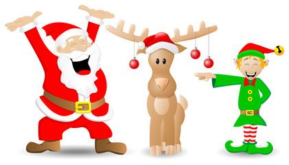 Weihnachtsmann, Rentier und Weihnnachtswichtel auf weiß