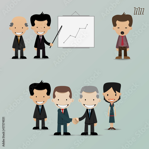Group of cartoon business people