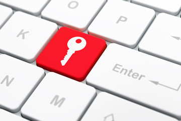 Privacy concept: Key on computer keyboard background
