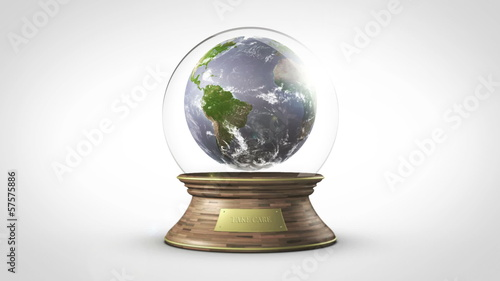 planet earth inside water ball loop