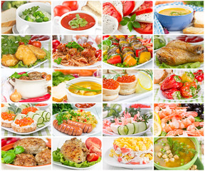 Collage of various tasty and healthy food