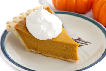 Pumpkin Pie Slice With Cream Topping