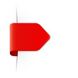 Roter Sticker Pfeil mit Schatten, Vorlage mit Textfreiraum