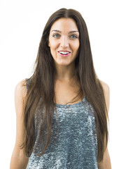 real happy young woman smiling in white background
