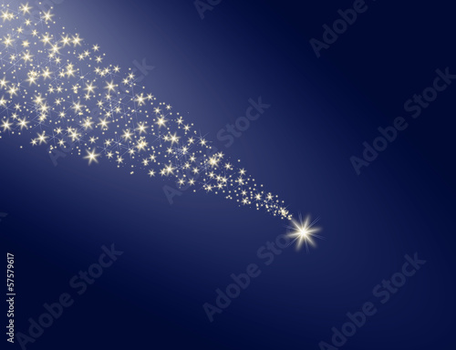 Falling star on the night sky blue background