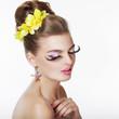 Creativity. Portrait of Fancy Woman with Long False Eye Lashes