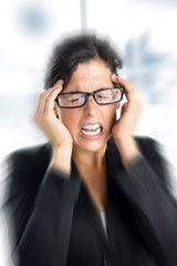 Businesswoman stress and headache