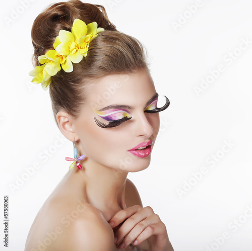 Creativity. Portrait of Fancy Woman with Long False Eye Lashes