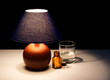 Bedside table lamp with tablets, water - insomnia maybe