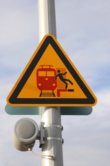 warning sign at a platform